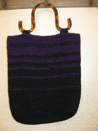 Black:purple striped purse