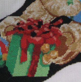 Needlepoint stocking close up