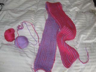Brioche scarf purple pink
