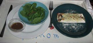Spinach salad and chicken fajita