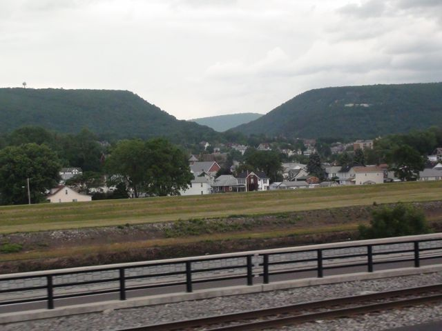 View of town and mountains from Amtrak car
