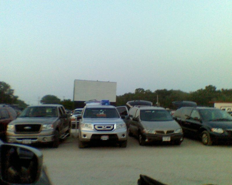 Drive in screen and cars