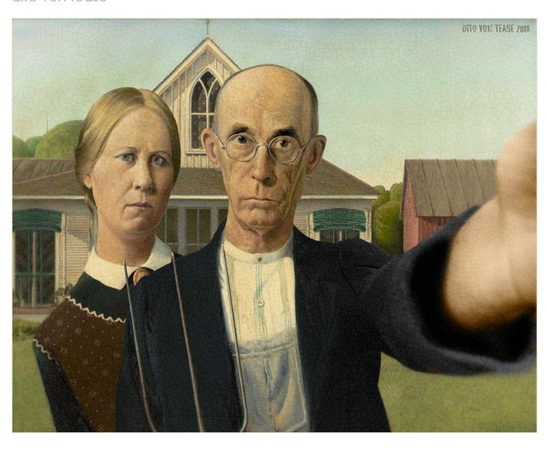 American Gothic selfie overbooked and underpaid