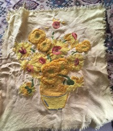 Unfinished Sunflowers embroidery overbooked and underpaid