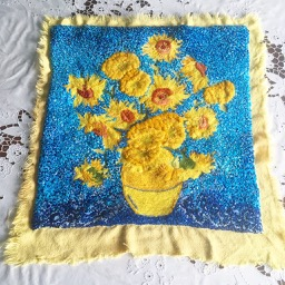 Rescued embroidery Van Gogh Sunflowers Starry Night overbooked and underpaid