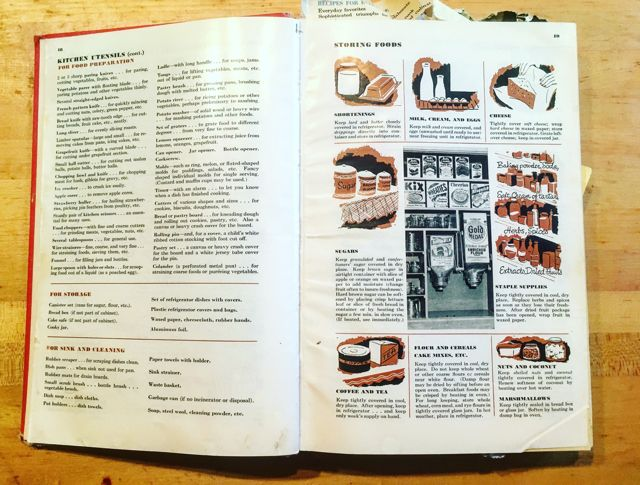Betty Crocker Picture Cookbook pgs 18-19 utensils-storage