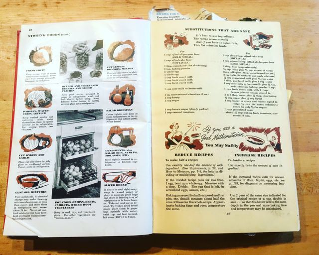 Betty Crocker Picture Cookbook pgs 20-21 storage-substitutions