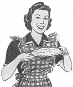 Vintage woman with pie overbooked and underpaid