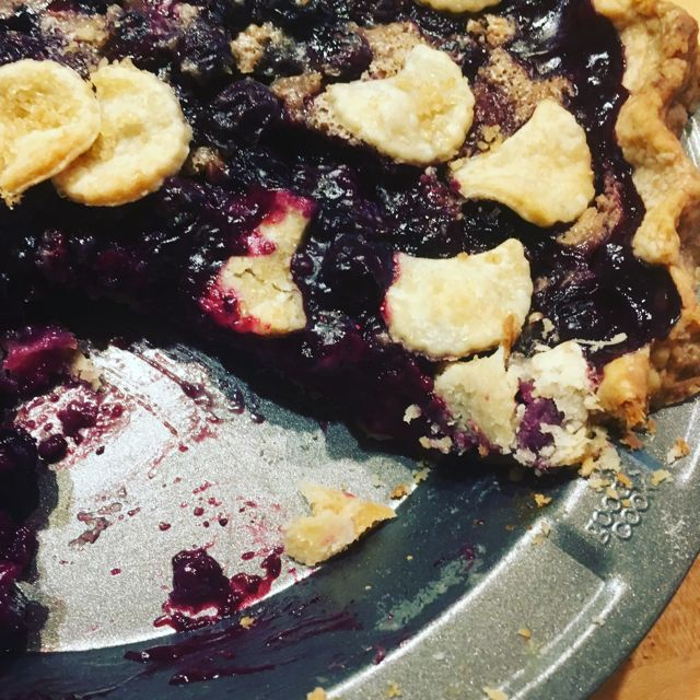 Blueberries and cream pie in pan after second bake