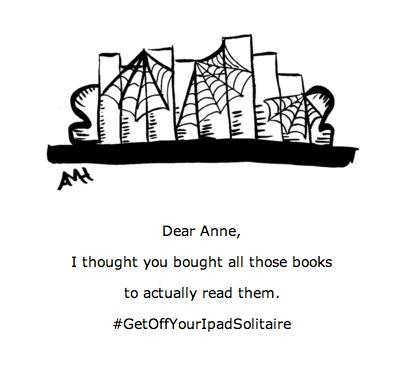 cobwebs on books